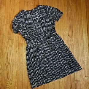 JCREW Short Sleeve Dress Black Multi 6